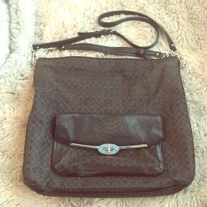 Authentic Coach Black Silver Teal Crossbody Bag